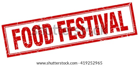 food festival red grunge square stamp on white