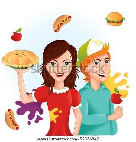 Food fight illustration - stock vector