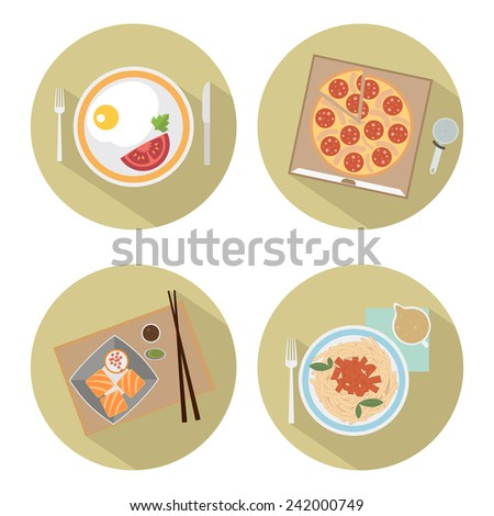 Food flat icons. Set of round icons