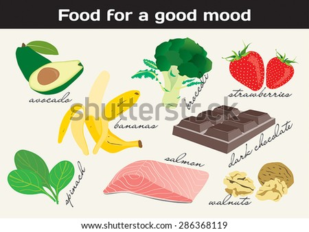 Food for a good mood, avocado, bananas, broccoli, salmon, dark chocolate, spinach, walnuts, strawberries