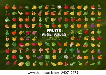 Food. Fruit and vegetables. Set of colored icons - stock vector