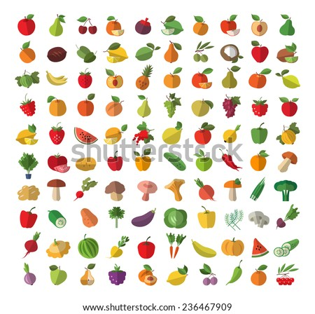Food. Fruits and vegetables. Colored icons set. Vector illustration - stock vector