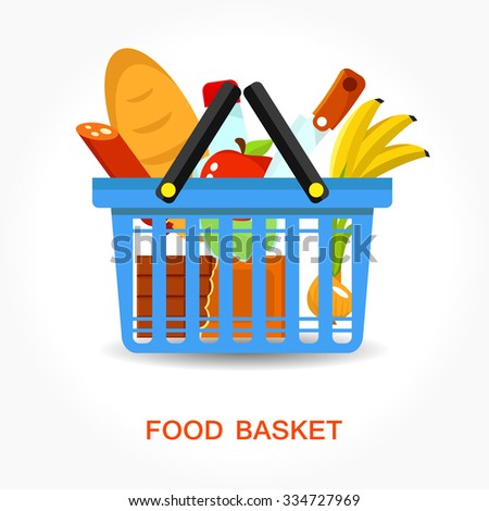 Food full basket, flat illustration with different food