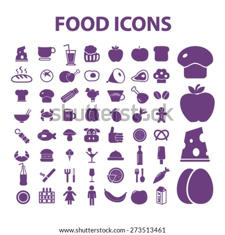 food, grocery, supermarket isolated icons, signs, illustrations website, internet mobile design concept set, vector - stock vector