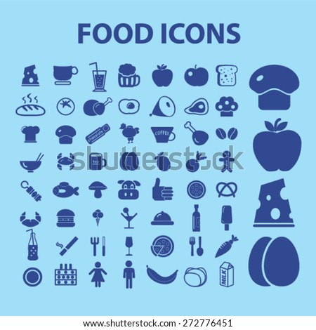 food, grocery, supermarket, vegetables, meat, fruits icons, signs, illustrations set, vector