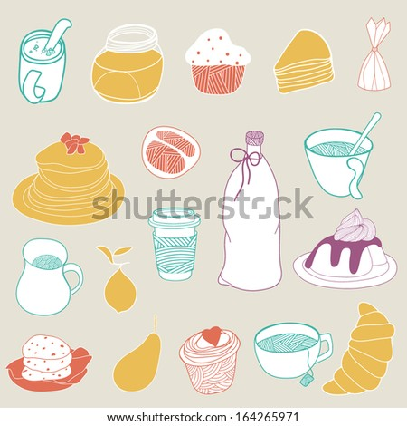 Food hand drawn elements - stock vector
