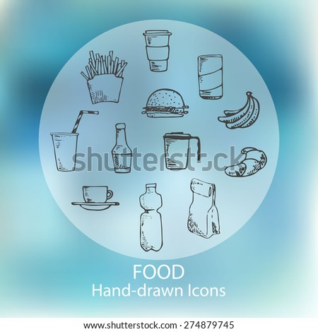 Food hand drawn icons