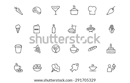 Food Hand Drawn Outline Vector Icons