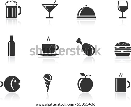 Food icon set - stock vector