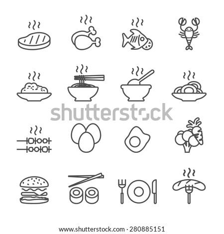 food icon set, line version, vector eps10. - stock vector