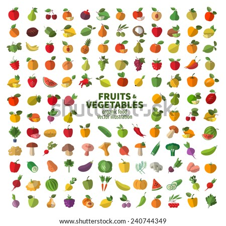 Food icon set. The collection of fruits and vegetables - stock vector