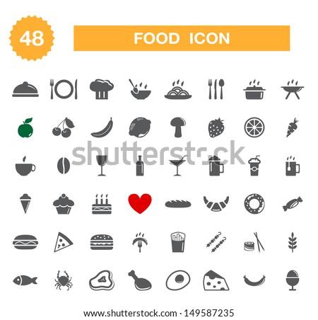 Food icon - set. Vector - stock vector