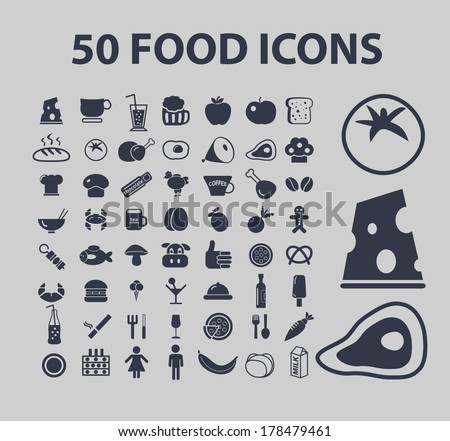 food icons - big set, vector - stock vector