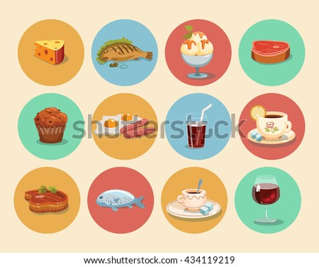 food Icons casual cartoon set