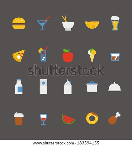 food icons collection. Flat design  - stock vector