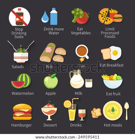 Food icons collection for restaurant menu isolated on black background - stock vector