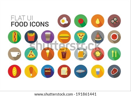 Food icons collection in flat style - stock vector