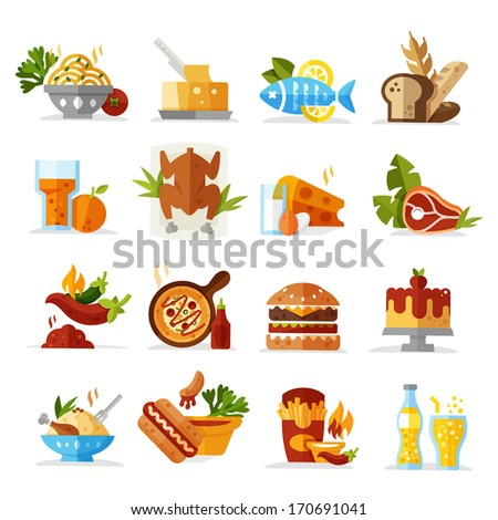 Food Icons - Colored series eps 10 - stock vector