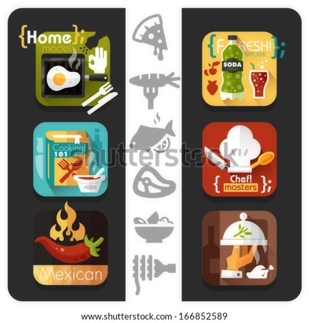 Food icons - flat series - stock vector