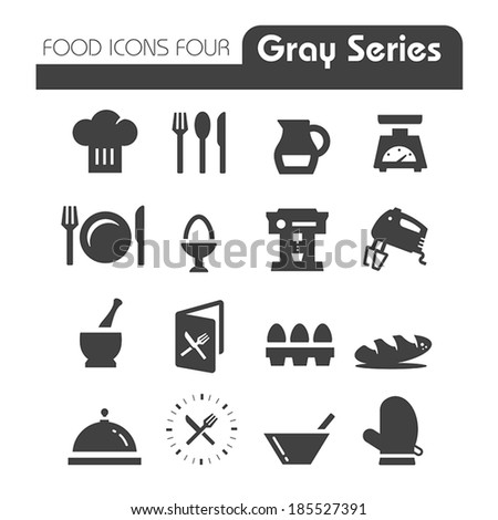 Food Icons Gray Series Four - stock vector