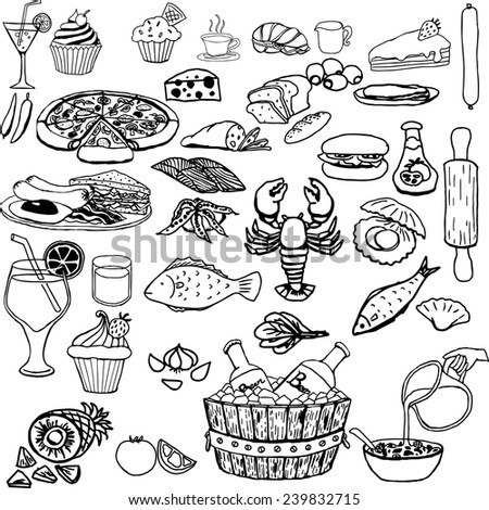 Food icons hand drawn