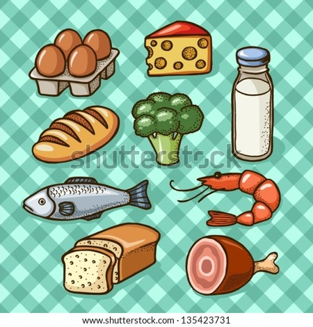 Food icons (meat, fish,eggs,cheese,milk) - stock vector