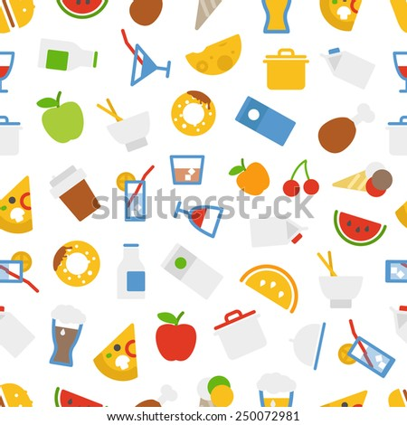 Food icons seamless background. Flat design elements - stock vector