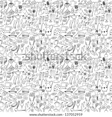 Food icons seamless pattern - stock vector