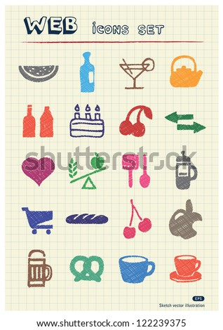 Food icons set drawn by color pencils. Hand drawn vector elements pack isolated on paper - stock vector
