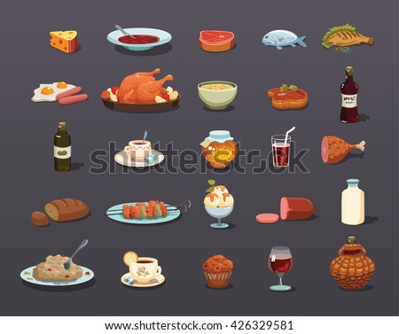 food Icons set, food Icon Vector - stock vector