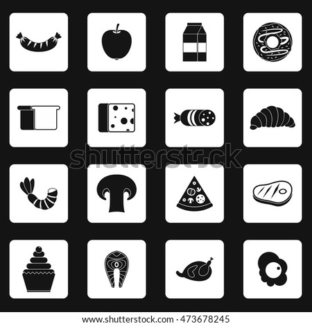 Food icons set in simple style. Everyday products set collection vector illustration