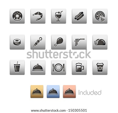 Food Icons - Set 2 // Metallic Series - It includes 4 color versions for each icon in different layers.  - stock vector
