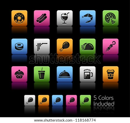 Food Icons - Set 2 of 2 // Color Box------It includes 5 color versions for each icon in different layers ------