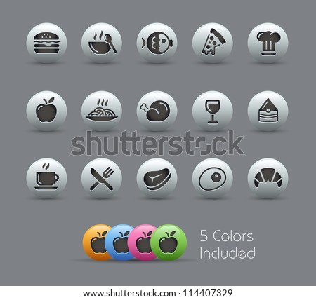 Food Icons - Set 1 of 2 // Pearly Series -------It includes 5 color versions for each icon in different layers --------- - stock vector