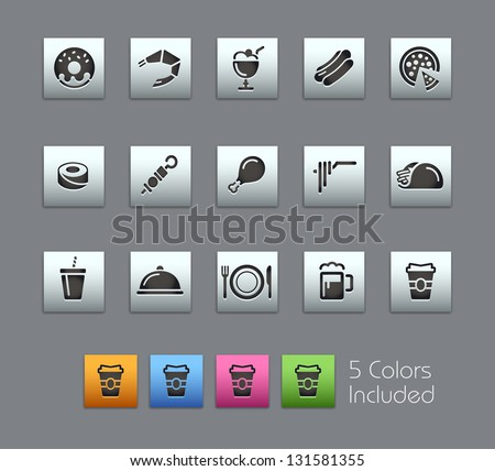 Food Icons - Set 2 of 2 // Satinbox Series -------It includes 5 color versions for each icon in different layers --------- - stock vector
