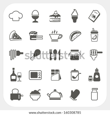 Food icons set on white background - stock vector