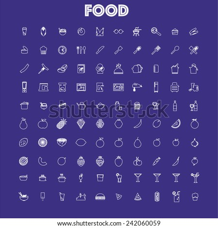 food icons set (vector) - stock vector
