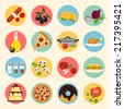 food icons set. vegetables cheese fast food sweets. vector illustration  - stock vector