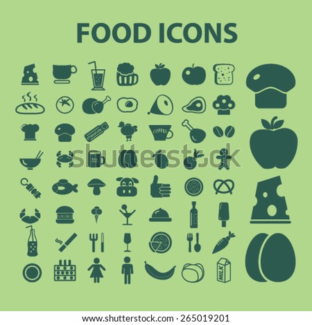 food icons, signs set, vector