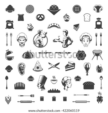 Food Icons Vector Design Elements. Chef Woman and Man Silhouette Isolated On White Background.  - stock vector