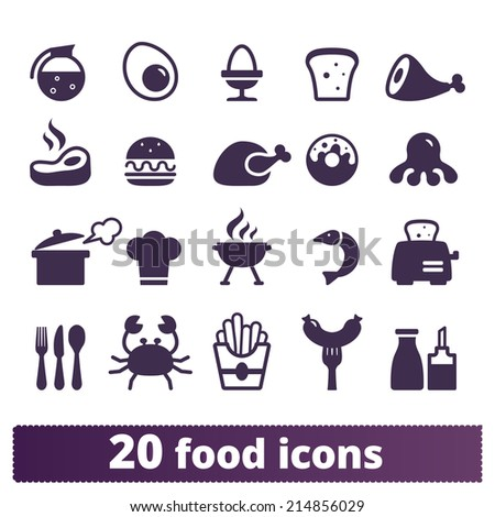 Food icons: vector set - stock vector