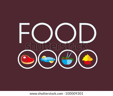 food icons with meat and vegetarian food - stock vector