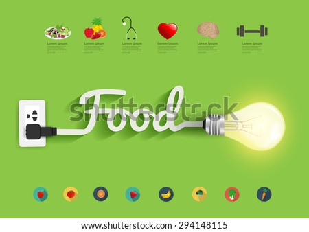 Food ideas concept, Creative light bulb design abstract infographic layout, diagram, step up options, Vector illustration modern template - stock vector