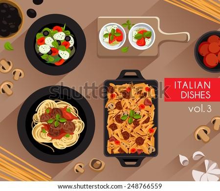 Food Illustration : Italian food :Vector Illustration - stock vector