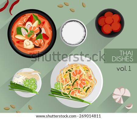Food Illustration : Thai food :Vector Illustration - stock vector