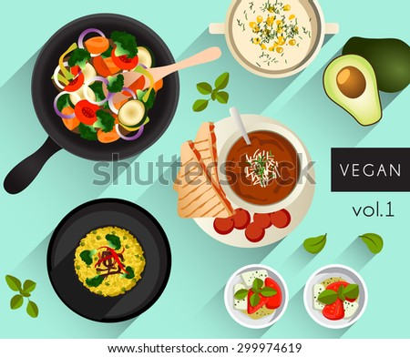 Food Illustration : Vegan food : Vector Illustration - stock vector