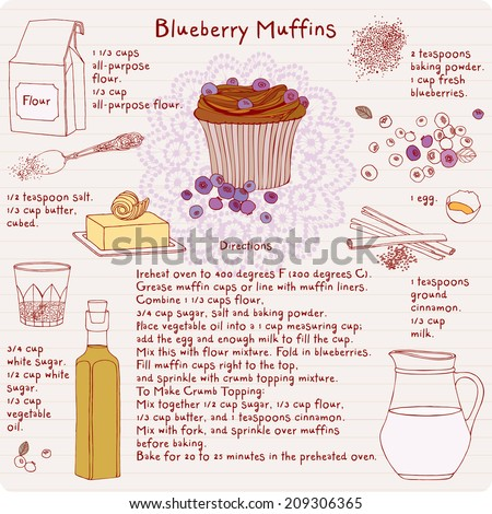 Food illustrations collection, food ingredients, blueberry muffins recipe.