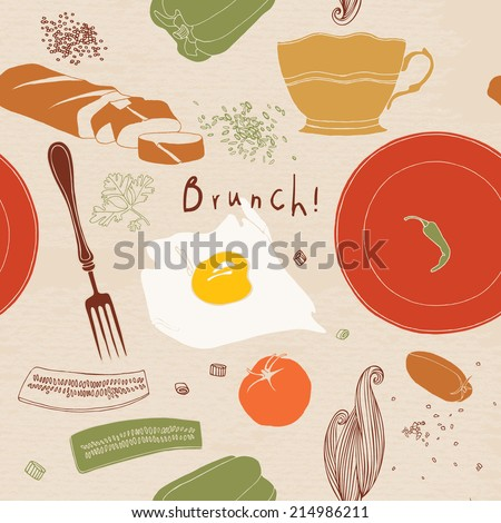 Food illustrations collection, food ingredients. Brunch. - stock vector