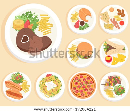 food in flat illustration style. Top view - stock vector