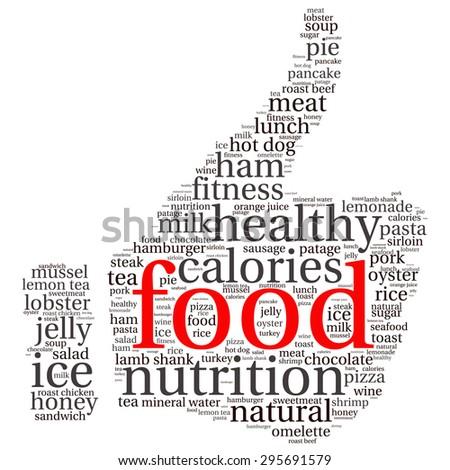 food  info-text graphics and arrangement concept (word cloud) - stock vector